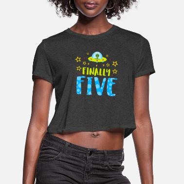 Bursdag Birthday - Finally Five Year Old Boy Birthday - Women's Cropped T-Shirt