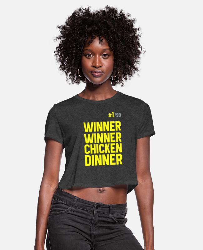 Game T-Shirts - Winner Winner Chicken Dinner Pubg - Women's Cropped T-Shirt deep heather