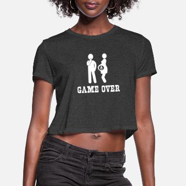 Funny Pregnancy Pregnant. Game Over - Women's Cropped T-Shirt