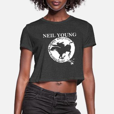 Young Neil Young Crazy Horse Unisex Retro Rock meme - Women's Cropped T-Shirt