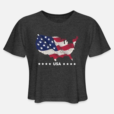 USA flag & map - Women's Cropped T-Shirt