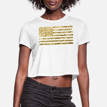 Gold American Flag Gold Foil - Women's Cropped T-Shirt