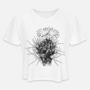 Blooming kaktus-kaktusbluete-01 - Women's Cropped T-Shirt