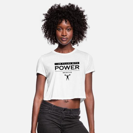 Christian T-Shirts - Power Filled (logo) - Christian Fitness Apparel - Women's Cropped T-Shirt white