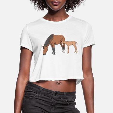 Mare mare & foal - Women's Cropped T-Shirt