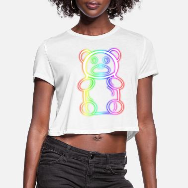 Neon Neon Rainbow Gummy Bear - Women's Cropped T-Shirt