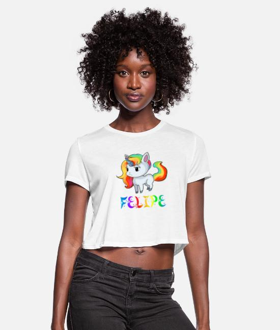 Felipe Birth T-Shirts - Felipe Unicorn - Women's Cropped T-Shirt white