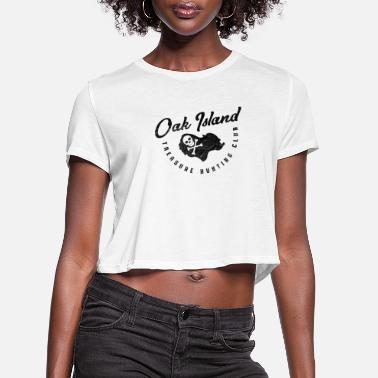 Curse Oak Island Treasure Hunting Club Map Skull and - Women's Cropped T-Shirt