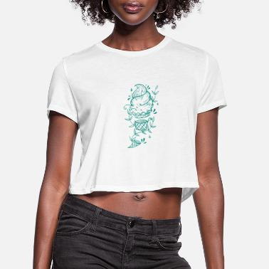 Down Soft ice cream with tendril plants - Women's Cropped T-Shirt