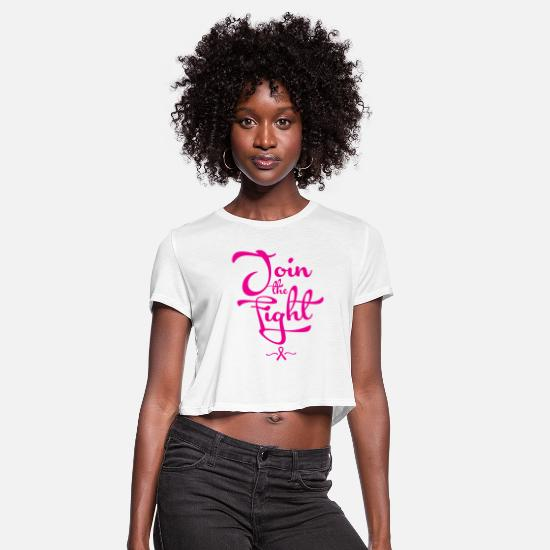 October T-Shirts - JOIN FIGHT BREAST CANCER - Women's Cropped T-Shirt white