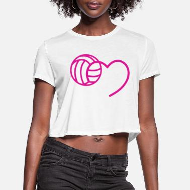 Beach Volleyball MY BALL IN MY HEART t-shirts - Women's Cropped T-Shirt