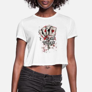 Winner Four Aces Poker Hand - Women's Cropped T-Shirt