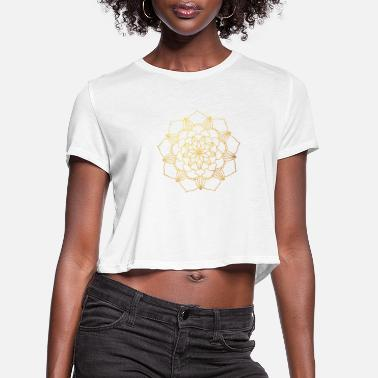 Concentration Gold Blossom Sun Mandala Mediation Yoga Ornament - Women's Cropped T-Shirt