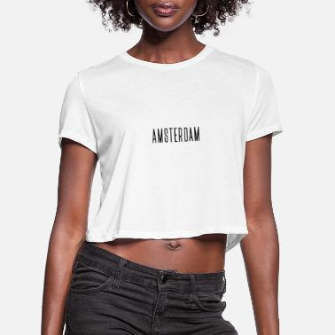Mountain Biking Amsterdam streched letters - Women's Cropped T-Shirt