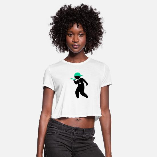 Symbol  T-Shirts - Hiphop Rapper - Women's Cropped T-Shirt white