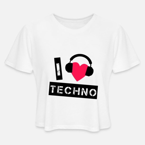 Techno T-Shirts - Techno Rave Raver - Women's Cropped T-Shirt white