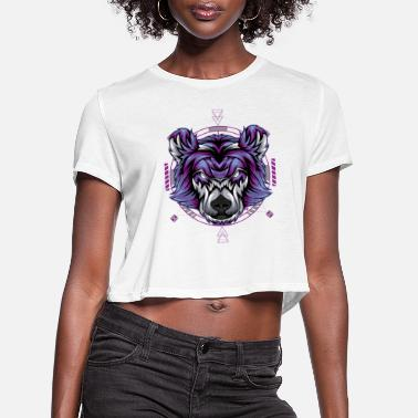 Vector bear angry face head vector - Women's Cropped T-Shirt
