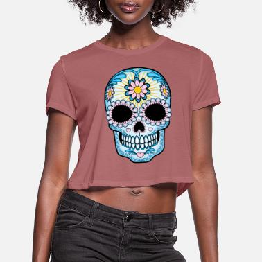 Plus Colorful Sugar Skull - Women's Cropped T-Shirt