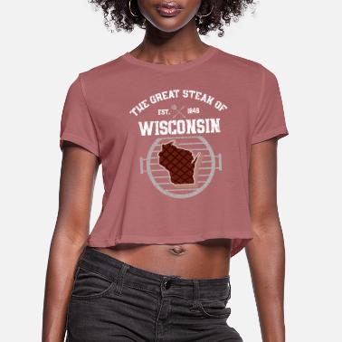 Check Wisconsin Steak - BBQbarbaylorbeachbeefblue bellbr - Women's Cropped T-Shirt
