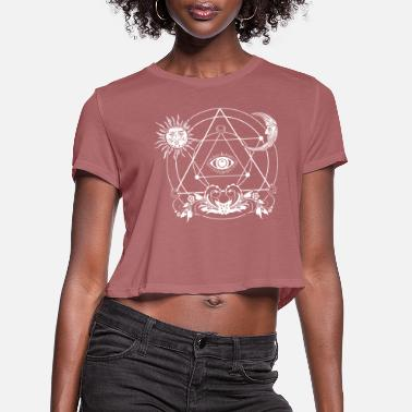 All Seeing Eye Blackcraft, Magic, Mystery, Witchcraft, 3. eye - Women's Cropped T-Shirt