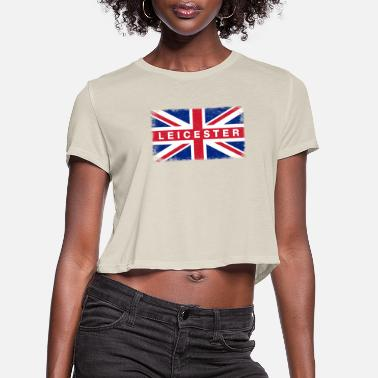 Leicestershire Leicester Shirt Vintage United Kingdom Flag T-Shir - Women's Cropped T-Shirt