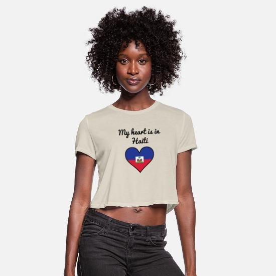 Love T-Shirts - My Heart Is In Haiti - Women's Cropped T-Shirt dust