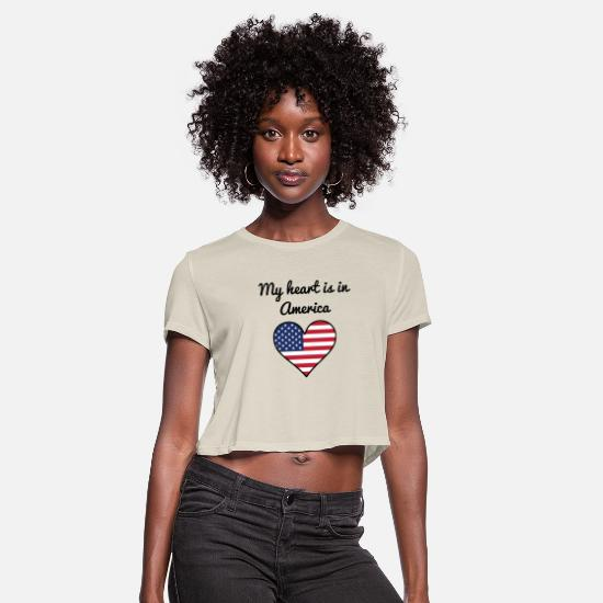 Heartily T-Shirts - My Heart Is In America - Women's Cropped T-Shirt dust