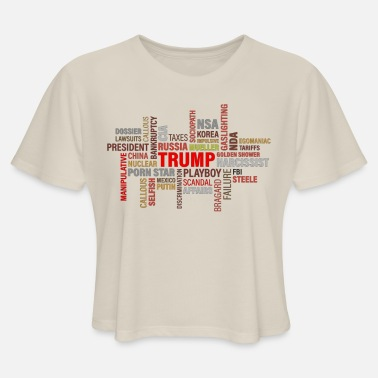 Pro funny trump quote word cloud pro anti president Donald maga - Women's Cropped T-Shirt