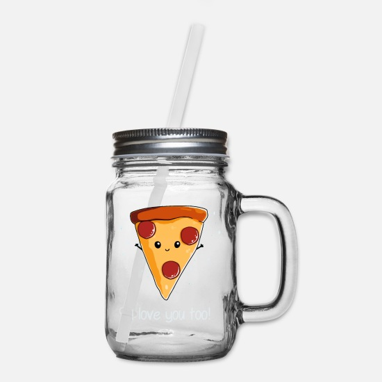 Pizza Mugs & Drinkware - I Love Pizza - Mason Jar clear