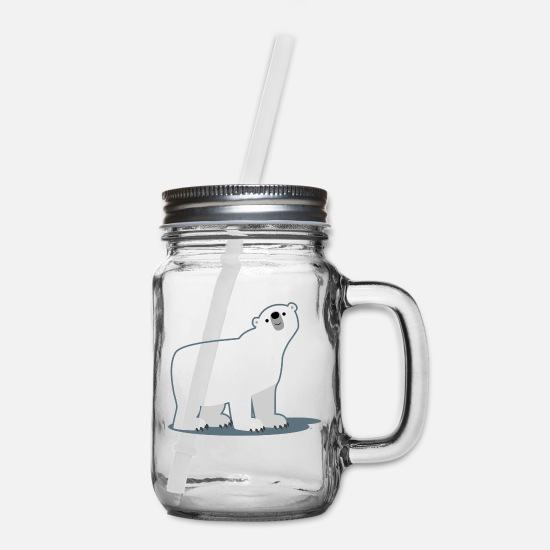 Bear Mugs & Drinkware - Cute Curious Polar Bear by Cheerful Madness!! - Mason Jar clear