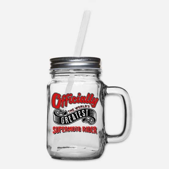 World Mugs & Drinkware - officially the Worlds greatest supermoto - Mason Jar clear