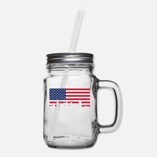 Flag Mugs & Drinkware - American Flag Memphis Skyline - Mason Jar clear