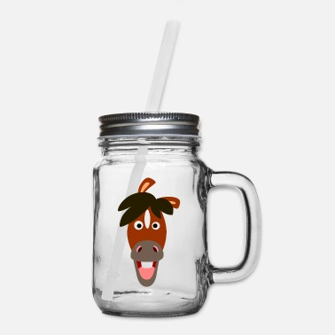 Smiling Cartoon Horse by Cheerful Madness!! - Mason Jar
