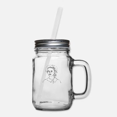 Line Line art Lady in Bonnet - Mason Jar