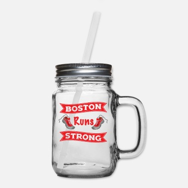 Boston Marathon Boston Runs Strong Running Marathon - Mason Jar