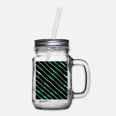 Neon Black neon green pattern neon - Mason Jar