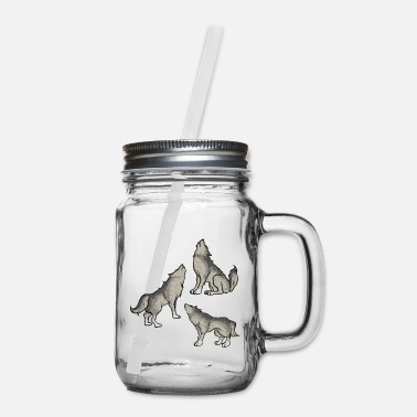 Dog Wolves Howling Howling Mysticism - Dog Dogs - Mason Jar