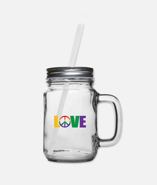 Pansexual Mugs & Cups - Gay pride LGBT PRIDE LOVE PEACE - Mason Jar clear