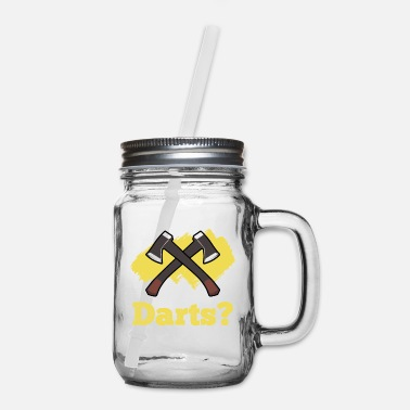 Contest Throw Darts Funny Lumberjack Hachet and Axe - Mason Jar
