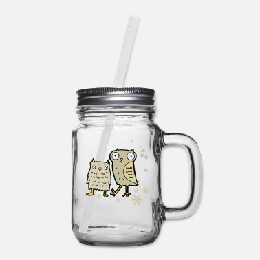 Bird Cute owl with snowflakes - Mason Jar