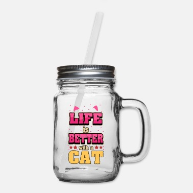 Cat Face Cat Kitten Funny Sayings Pet Animals Gift - Mason Jar