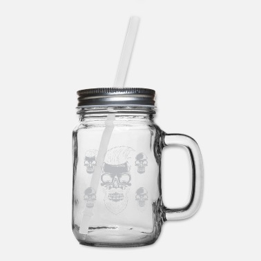 Hair Stylist Skull Barber, Hair Stylist, Hairdresser Skull Hipster - Mason Jar