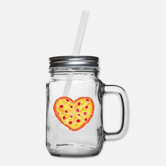 Pizza Mugs & Drinkware - You Definitely Have A Pizza My Heart T-Shirt Gift - Mason Jar clear