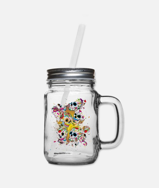 Mexico Day Of The Dead Mugs & Cups - Sugar Skulls - Mason Jar clear