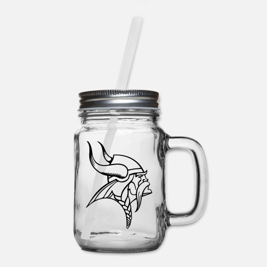 Viking Mugs & Drinkware - Viking Outline - Mason Jar clear