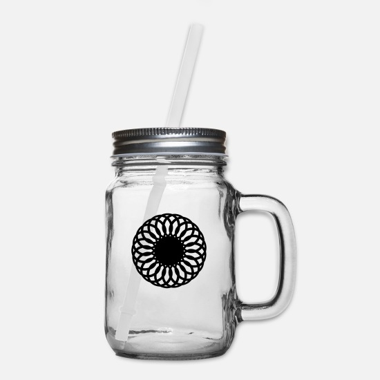 Line Mugs & Drinkware - Geometric Design - Mason Jar clear