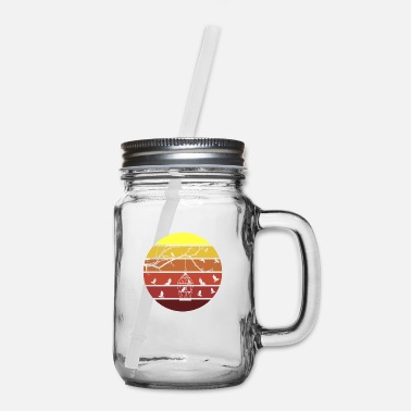 Birds and Birdcage Retro Sunset - Mason Jar