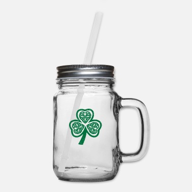 New Year Celtic Symbols Shamrock Funny Gift Idea - Mason Jar