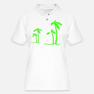 Beach Summer Sun Ocean Sea Holiday Palms - Women's Pique Polo Shirt