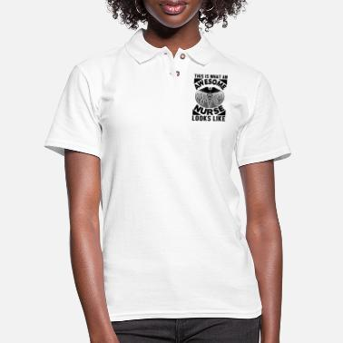 Care Awesome Nures Look Like - Women's Pique Polo Shirt